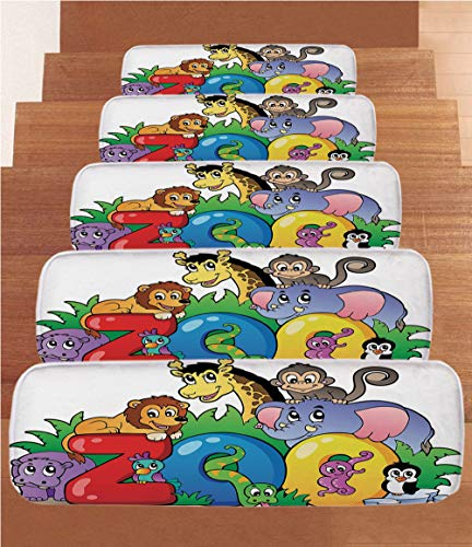 Non-Slip Carpets Stair Treads,Zoo,Zoo Sign with Various Animals Mascot Cartoon Characters Cute Playful Kids Room Print Decorative,Multicolor,(Set of 5) 8.6''x27.5'' by iPrint