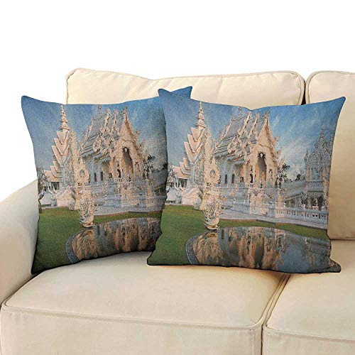Asian,Pillowcases Palace Formed Temple with Ornate Royal Curving Located in North Asian History 16