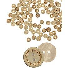 Sandistore 100pcs Wood Love Handmade 2 Holes Wooden Buttons Sewing Scrapbooking DIY (F)