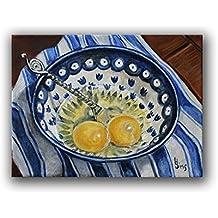 Polish Pottery Bowl Chicken Eggs Still Life Art Print Farmhouse Kitchen Wall Decor, Size Mat options