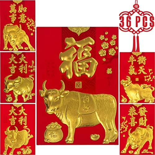ELLZK Chinese Red Envelopes Lucky Money Envelopes 2021 Chinese New Year Ox Year Envelope Small (6 Patterns 36 Pcs) Gold Foil