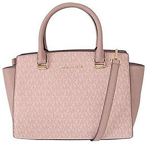 Michael Kors Selma Saffiano Leather Medium Top Zip Satchel Bag - Fawn/Ballet Pink 35H8GLMS6B-857