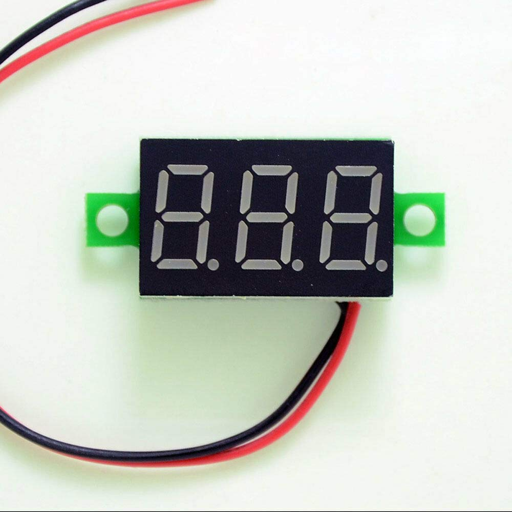 rouge Supertool Lot de 5 mini voltm/ètres num/ériques /à LED 0,9 cm 2 fils DC 2,5-30 V