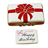 GIFT BOX WITH RED BOW - HAPPY BIRTHDAY - LIMOGES BOX AUTHENTIC PORCELAIN FIGURINE FROM FRANCE