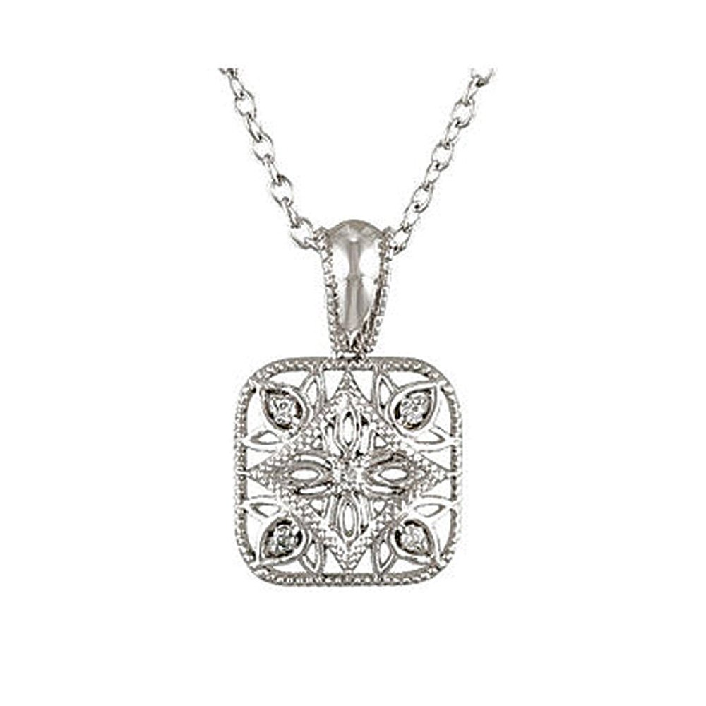 Vintage Style Diamond Square Necklace in Sterling Silver