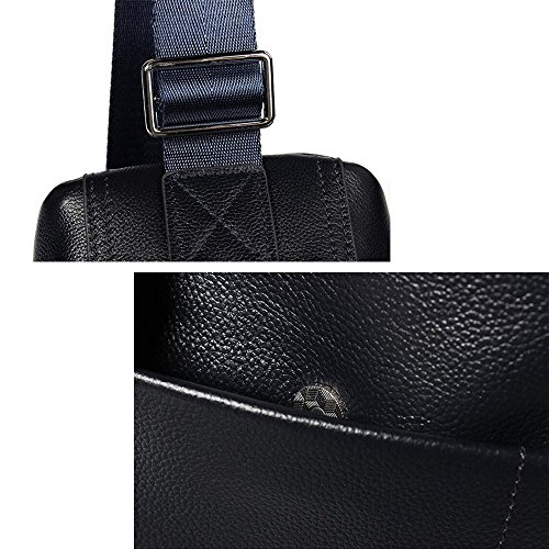 Shoulder Black Bag Sports Full Business Leisure Trend Wenmw Leather Chest Bag Men's Messenger fwqFn1pq