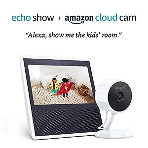 Echo Show – White + Amazon Cloud Cam Indoor Security Camera Bundle