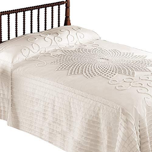 . Vintage Starburst Bedspread with Country Handwork Detailing, Lightweight Bedspread, Cream, Full