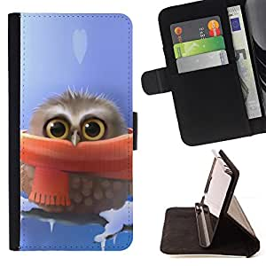 Cute owl Cute Winter Owl - Painting Art Smile Face Style Design PU Leather Flip Stand Case Cover FOR Apple Iphone 6 @ The Smurfs