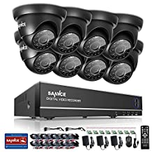 SANNCE HD 1080N 8CH DVR Security System with 8pcs 720P Surveillance Camera Outdoor, IP66 Weatherproof, Smart IR-Cut, Day Night Vision, Motion Detected, Email Alert - No HDD