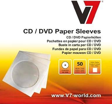 V7 FDPS050W-2E - Pack de 50 fundas para CD y DVD de 12 cm, blanco: Amazon.es: Electrónica