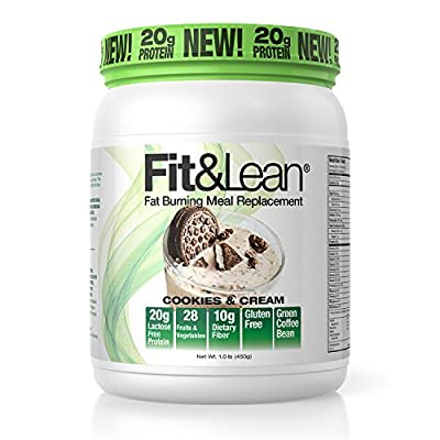 Fit & Lean Fat Burning Meal Replacement, Cookies & Cream, 1 Pound