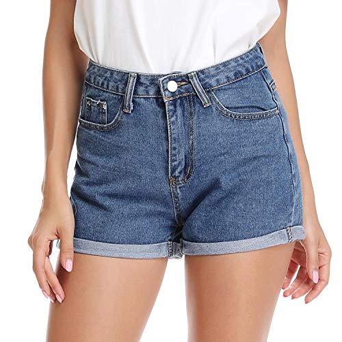Mia Pristine Women's Juniors Non Stretch Denim High Waisted Folded Hem Jeans Shorts,Blue 8 ()