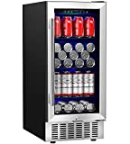 Aobosi 15 Inch Beverage Refrigerator, 94 Cans Built-in Beverage Cooler with Advanced Cooling System, Sensor Touch Control, Blue Interior Light, Quiet Operation - for Beer, Soda, Water or Wine