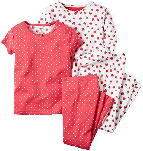 Carter's Girls' 4 Piece Pj Set 351g071, Strawberry Print, 3T
