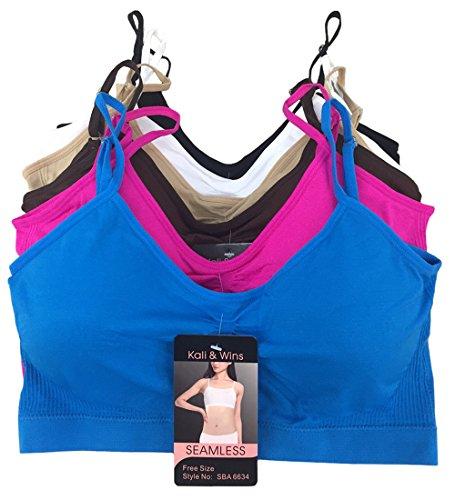 Kali & Wins Women's Adjustable Strap Bralettes Padded Scoopneck Sports Bras - 6 Pack (L/XL) (Spaghetti Strap Bras)