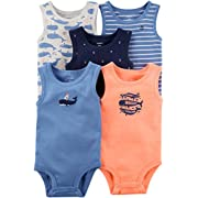 Carter's Baby Boys' 5 Pack Whale Tank Top Originals Bodysuits 9 Months