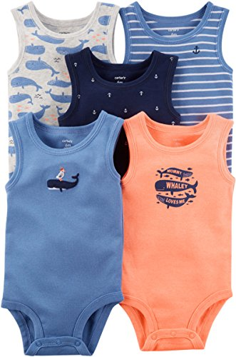 - Carter's Baby Boys' 5 Pack Whale Tank Top Originals Bodysuits 6 Months