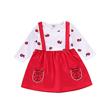 e52b01839 2019 Toddler Baby Girl Cartoon Beetle Print Dress Newborn Straps ...