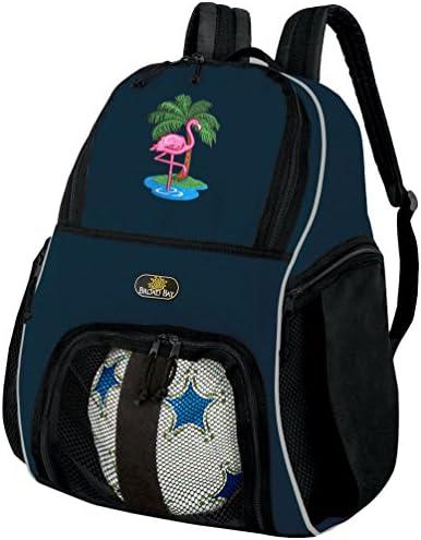 Flamingoサッカーバックパックまたはピンクフラミンゴバレーボールボールバックパック