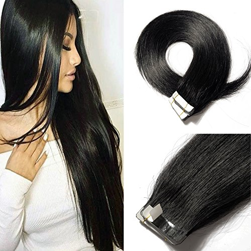 20 Inch Tape in Hair Extensions Remy Human Hair #01 Jet Black Long Straight Hair Seamless Skin Weft Invisible Double Sided Tape 20pc/pack 50g +10 Free Tape Bonds (Wavy Tape In Real Hair Extensions)