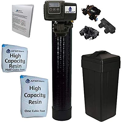 "Metered water softener with 3/4"" Fleck 5600SXT control, 48,000 grain capacity with by-pass valve"