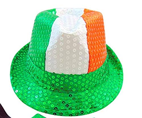 Set of 2 Westman Works St Patricks Day Sequin Irish Fedora Hat with Irish Tricolour