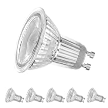 LEDERA Dimmable GU10 LED Track Bulbs, 5000K Daylight White, 7W 650LM, 50W-65W Equivalent, 6-Pack