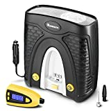 NaviSkauto 12V Tire Inflator Portable Auto Air Compressor with Detachable Tire Pressure Gauge and Carry Case - 100 PSI