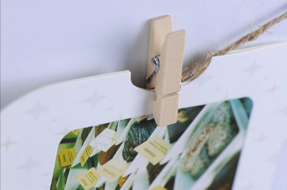/Support de cartes de No/ël ficelle de jardinage. Anpro Ficelle de jute de 812 cm et 50/mini pinces /à linge en bois pour photos/ de cadeaux artisanaux/