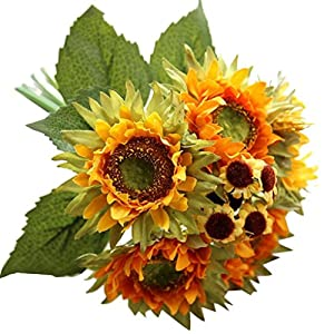 Wondere Artificial Flowers, Fake Silk 5 Heads Sunflower Flowers Artificial Flower Bouquet Floral Arrangement, Perfect for Wedding, Bridal, Party, Home, Office Décor DIY (Sunflower-C) 43