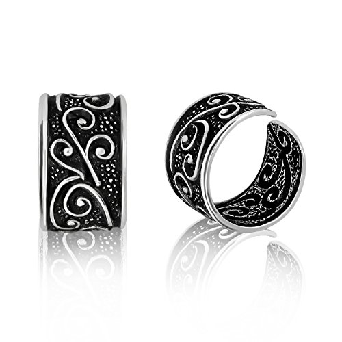 WithLoveSilver 925 Oxidized Sterling Silver Bali Floral Design Ear Cuffs - Ear Cuffs Oxidized