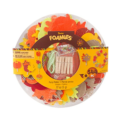 Thanksgiving Children's Crafts Foam Party Platter: Fall Leaves, Garland, Wreath: 545 pieces