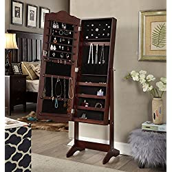 Espresso Finish Arch Jewelry Cabinet Freestanding Floor Mirror Stand Makeup Armoire Organizer - Rings, Necklaces, Bracelets