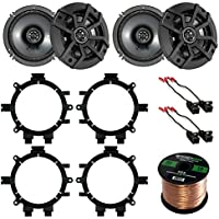 Car Speaker Bundle Combo: 2 Pairs of Kicker 40CS654 6.5 Inch 600 Watts 2-Way CS-Series Black Car Stereo Coaxial Speaker W/ Adapter Brackets + Wiring Harness + Enrock 50 Foot 16 Guage Speaker Wire