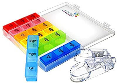 Rainbow Weekly Pill Organizer with Snap Lids from Inspiration Industry NY