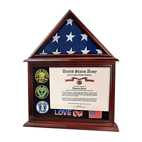 Indeep Flag Display Case Certificate & Document Holder Frame 3' X 5' Flag Military Shadow Box (Air Force Shadow Boxes For Military Retirement)