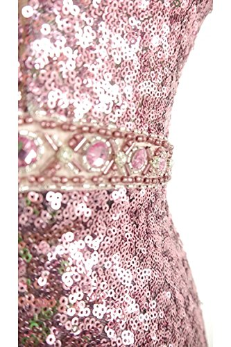 Mascara Rose Pink MC166105 dip dye sequin long dress UK 8 (EUR 36/DE 34/US 6)