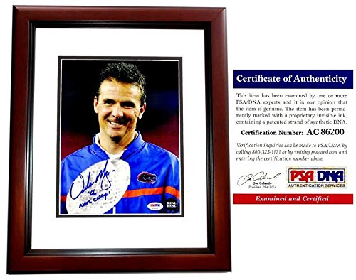 Urban Meyer Autographed Florida Gators UF 8x10 Photo - 3x National Champion Coach - Mahogany Custom Frame - PSA/DNA - Frames Coach Online