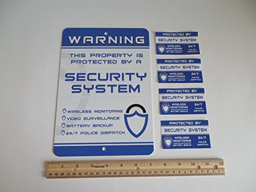 Home Security Alarm System Security Yard Sign & 4 Window Stickers - Stock # 719 by Security Signs