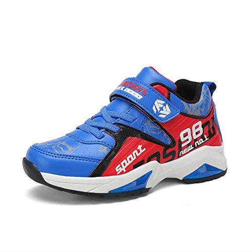 LILY999 Unisex- Kinder Sportschuhe Bequeme Sneaker Laufschuhe Outdoor Shuhe Klettverschluss Turnschuhe Wanderschuhe für Jungen Mädchen Blau/Rot