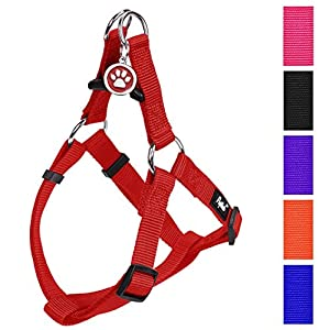"PUPTECK No Pull Dog Harness Adjustable Basic Nylon Step in Puppy Vest Outdoor Walking Chest Girth 14.8""-26"" Small"