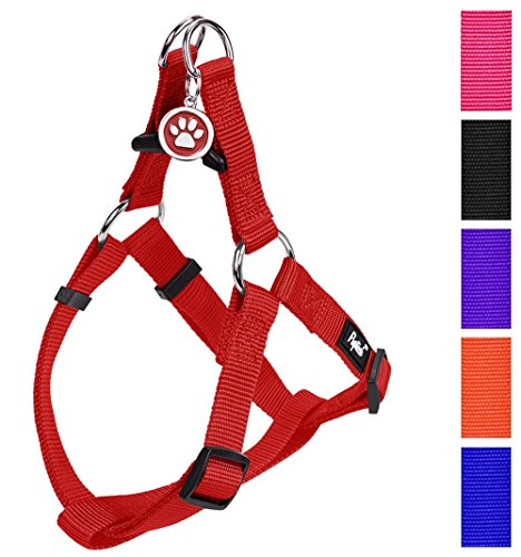 Nylon Two Step Dog Harness (No Pull Dog Harness Adjustable Basic Nylon Step in Puppy Vest Outdoor Walking Chest Girth 14.8