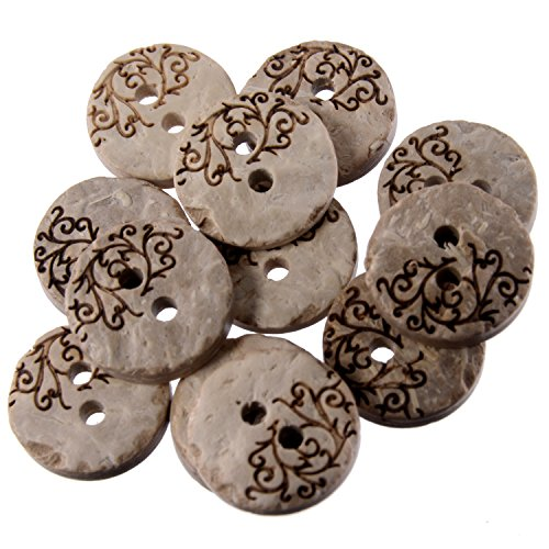 Real Coconut Button - 2 Holes - Laser Etching - Vine Pattern