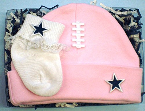 Dallas Football Cap And Socks Baby Gift Set (Pink with Lace)