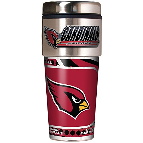 NFL Arizona Cardinals Metallic Travel Tumbler, Stainless Steel and Black Vinyl, 16-Ounce