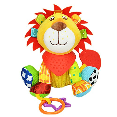 BabyPrice Baby Cute Lion Doll with Teether Educational Toys Developmental Sensory Clip On Toy