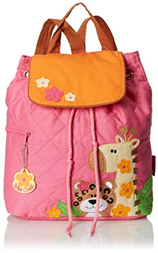 Stephen Joseph Quilted Backpack, Girl Zoo, One Size