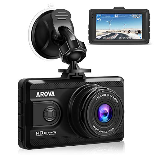 AROVA Dash Cam HD 1080P Dashboard Camera 170° Wide Angle Car Camera Dash Camera for Cars with G-Sensor, Parking Mode, HDR, Loop Recording, Motion Detection, Night Vision
