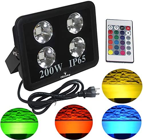 Odlamp 200W LED Floodlight RGB Color Changing Waterproof IP66 Outdoor Indoor LED Securtity Wall Wash Lights with Plug 200W RGB